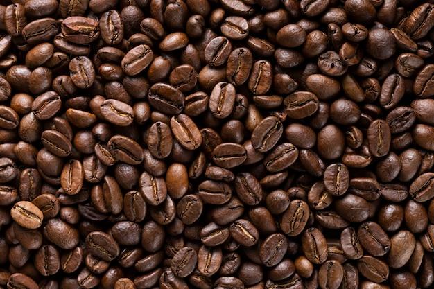 Selección de primer plano de granos de café orgánicos.