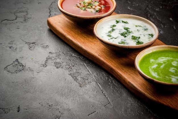 Selección de sopas frías y refrescantes de verano.