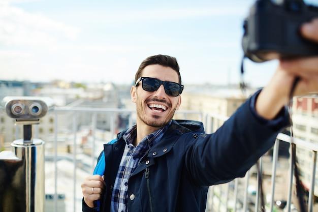 Selfie de mochileros