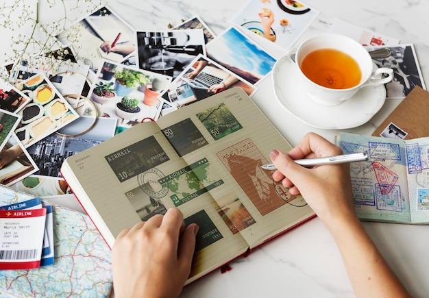 Sello de correos concepto de recuerdos de comunicación de correspondencia