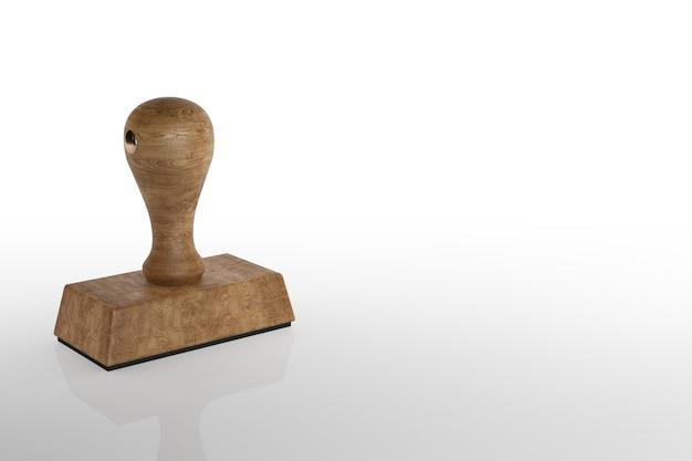 Sello de goma con fondo blanco. representación 3d