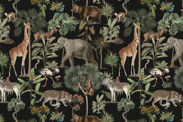 Selva patrón fondo animales salvajes