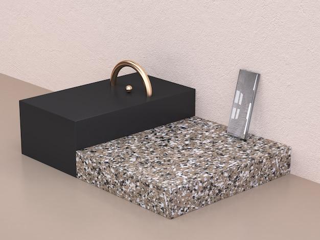 Semicírculo de oro 3d que rinde forma negro y mármol