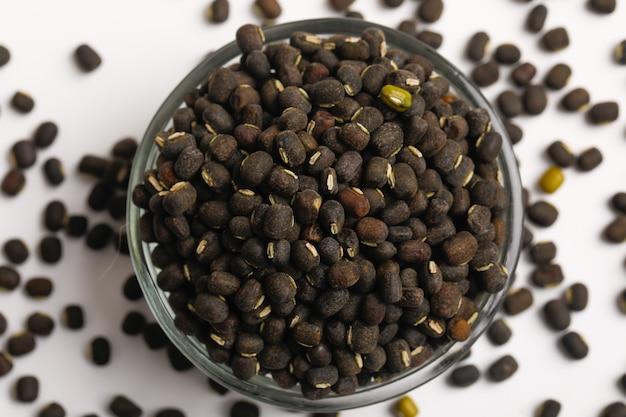 Semilla de gramo negro o frijoles udad en un tazón