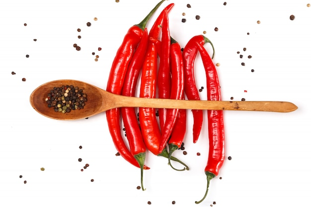 Semillas de chile rojo y pimienta seca