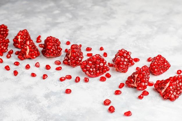 Semillas de granada dulce, enfoque selectivo