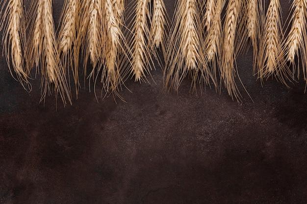 Semillas de trigo sobre fondo con textura