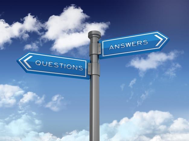 Señal direccional con preguntas y respuestas en el cielo azul