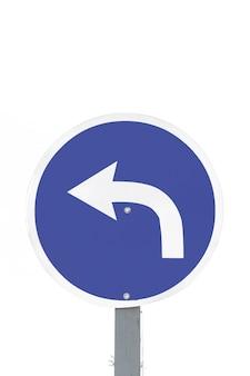 Señal de flecha de tráfico solo a la izquierda