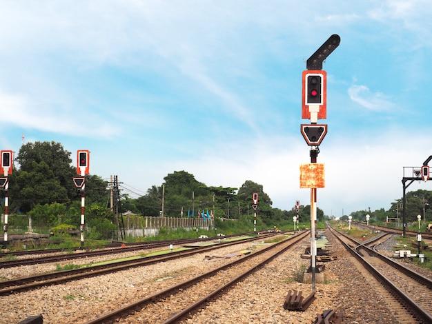 Señal de semáforo sobre vía férrea.