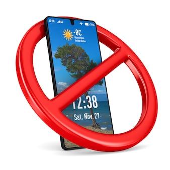Señal y teléfono prohibidos. representación 3d aislada
