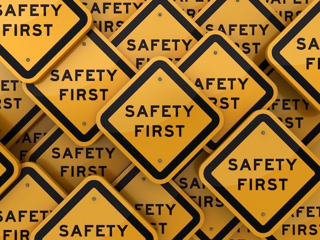 Señal de tráfico con las primeras palabras de seguridad
