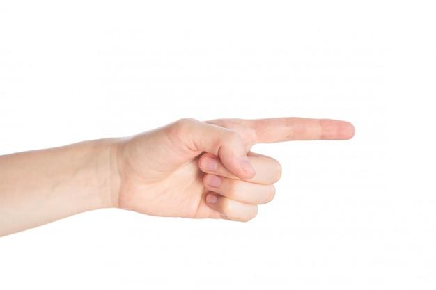 Señalando gesto. la mano femenina muestra el dedo índice