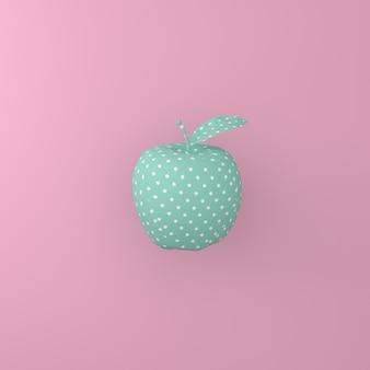Señale el blanco del modelo en manzana verde en fondo rosado. concepto de comida mínima idea.