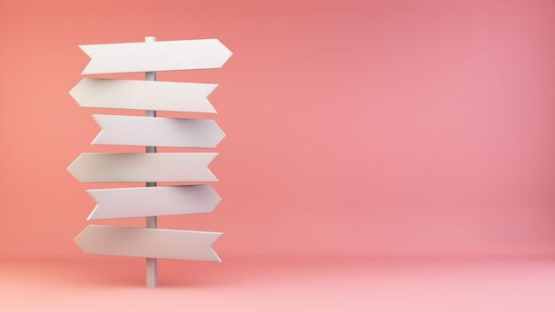 Señalización encrucijada blanca sobre fondo rosa