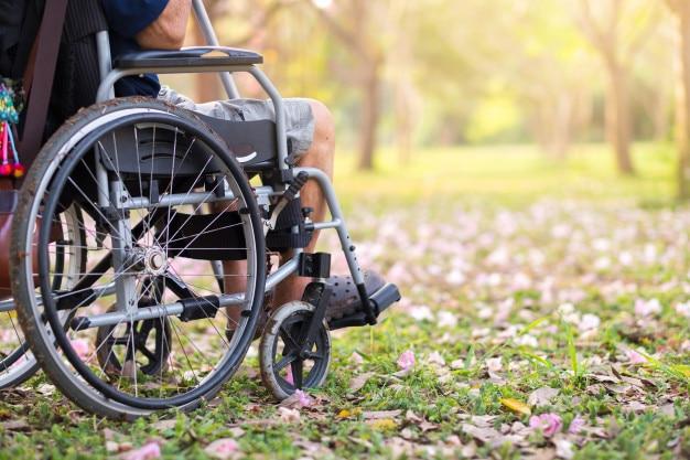 Senior en silla de ruedas en el jardín