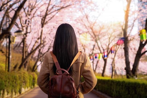 Señora asiática de viaje en el parque de los cerezos en flor en la ciudad de seúl