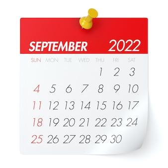 Septiembre de 2022 - calendario. aislado sobre fondo blanco. ilustración 3d