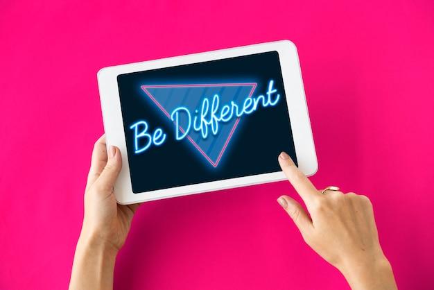 Ser diferente, pensar, conceptual, inspirar, palabra