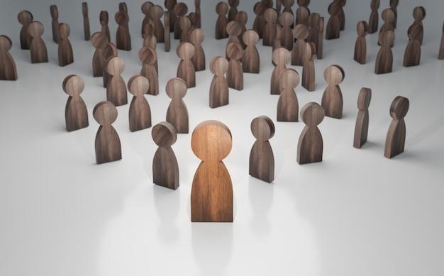 El ser humano de madera toma un líder de negocios y líder de corporaciones, renderizado de ilustración 3d