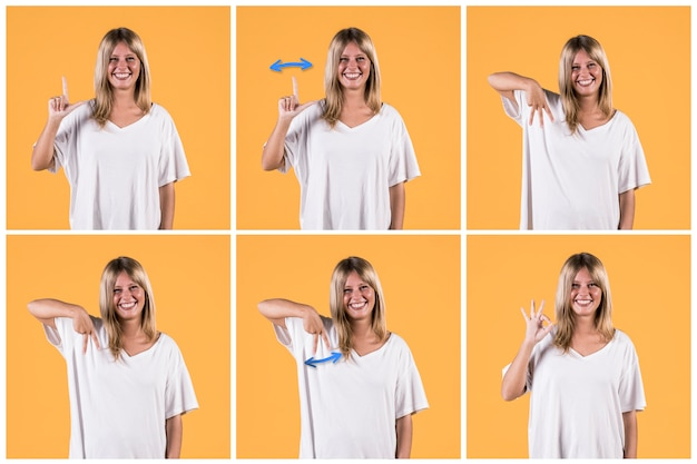Serie de mujer mostrando alfabetos de signos sordos sobre fondo amarillo