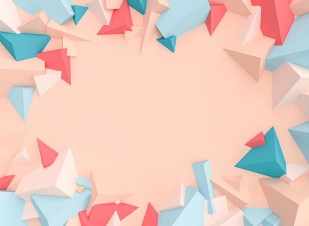 Serie de objetos geométricos con formas triangulares en tonos pastel.