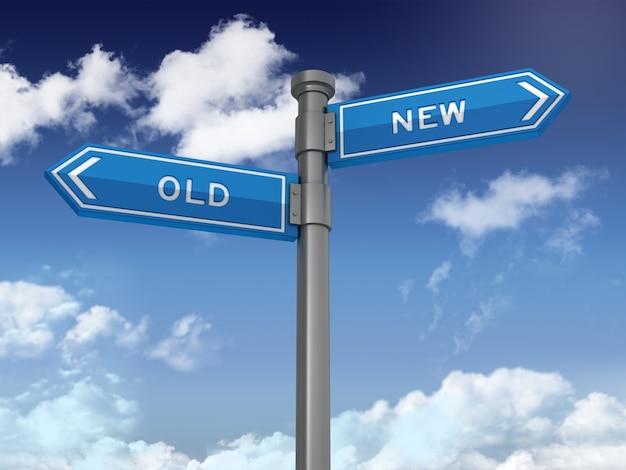 Serie de señales direccionales con viejas palabras nuevas en cielo azul
