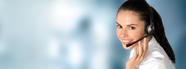 Servicio de call center. foto de soporte al cliente o agente de ventas.