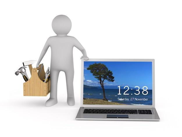 Servicio de computadora portátil en espacios en blanco. ilustración 3d aislada