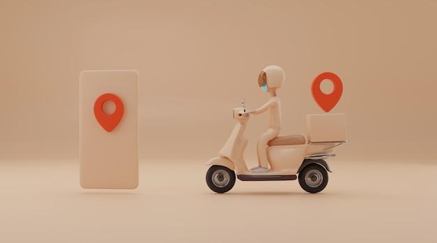 Servicio de entrega en línea por scooter. representación 3d
