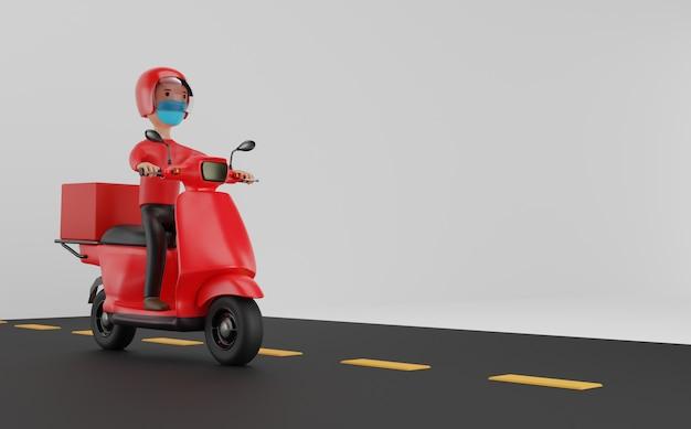 Servicio de entrega online en scooter con concepto de máscaras. representación 3d.