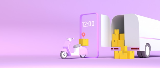 Servicio de entrega rápida de procesamiento 3d con ilustración de scooter y camión.