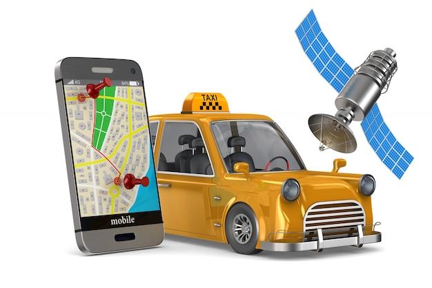 Servicio de taxi en blanco