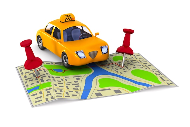 Servicio de taxi sobre fondo blanco. ilustración 3d aislada