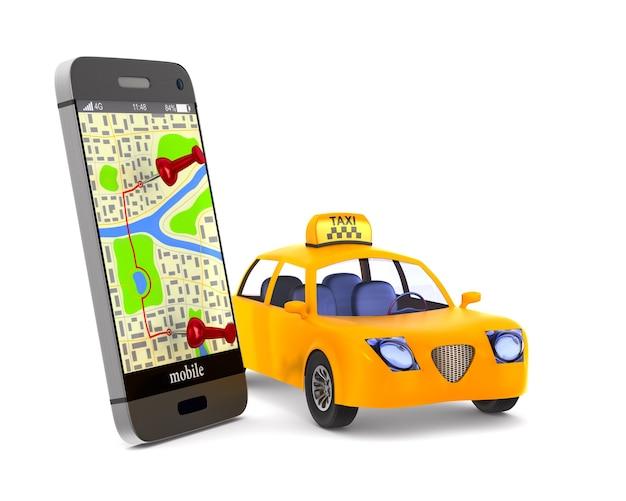 Servicio de taxi sobre fondo blanco. imagen aislada