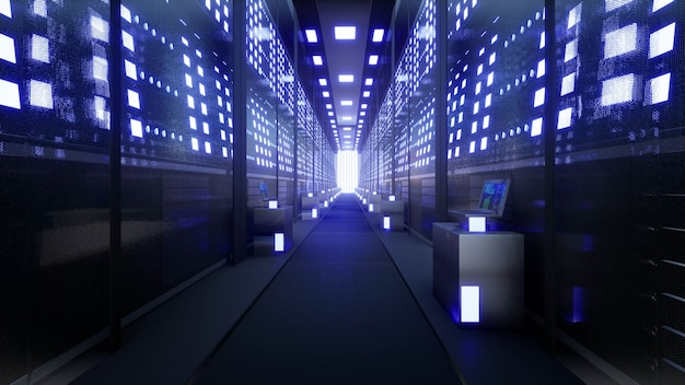 Servidores de red y datos detrás de paneles de vidrio en una sala de servidores de un centro de datos o isp 3d renderin