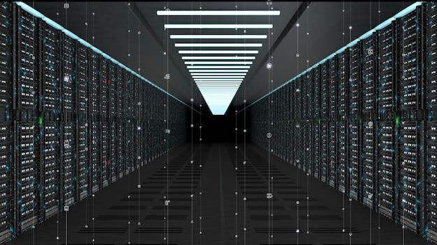 Servidores de red de datos digitales en una sala de servidores
