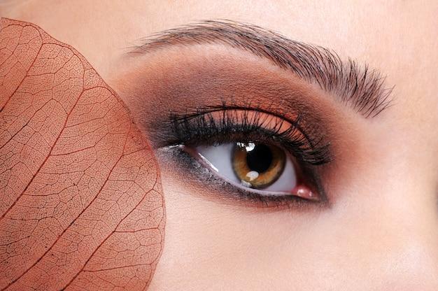 Sesión de primer plano de ojo femenino con maquillaje brillante marrón y hoja