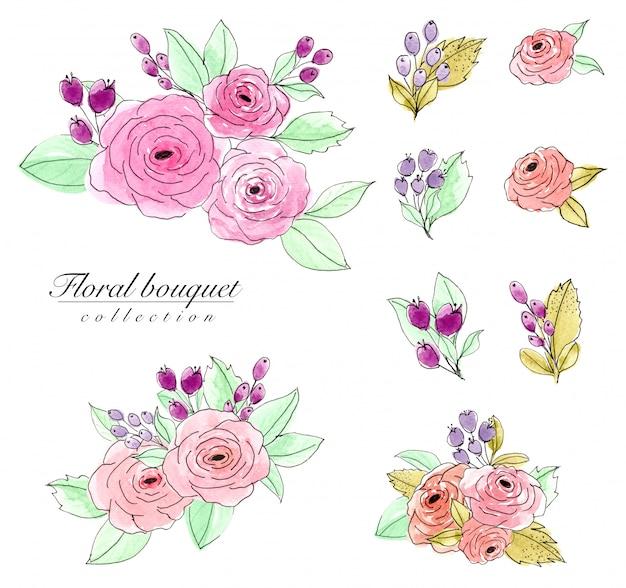 Set de acuarela ramo de flores.