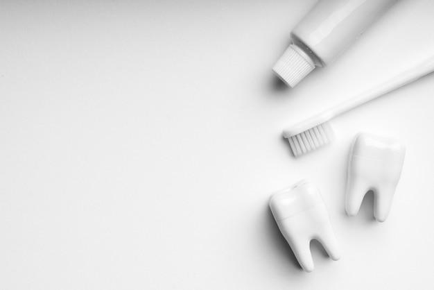 Set de cepillos de dientes y cuidado dental de color blanco y monótono para un concepto limpio