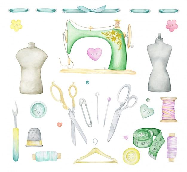 Set de costura acuarela. máquina de coser, botones, alfileres, tijeras, cinta métrica, hilos, perchas, maniquíes, cinta adhesiva.