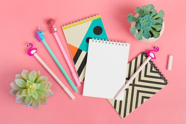 Set de cuadernos para notas y bolígrafos.
