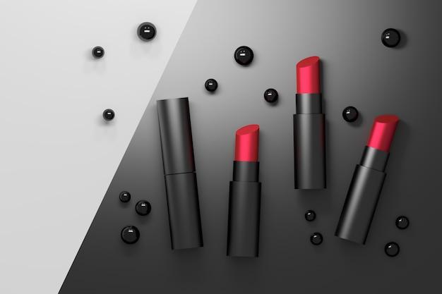 Set de labiales rojos en tubos negros con perlas negras