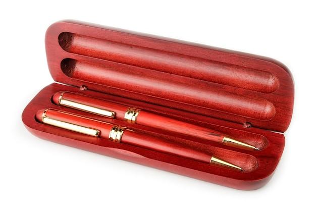 Set de papelería de bolígrafo de madera, lápiz y estuche para ellos