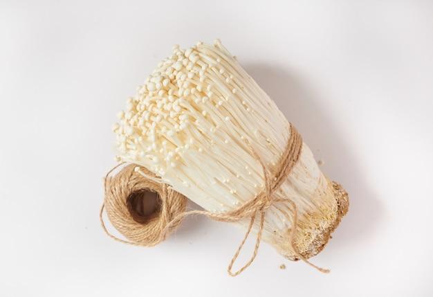 Seta de aguja dorada fresca blanca o hongo enoki aislado en superficie blanca