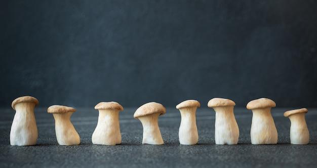 Setas de ostra rey crudas en madera oscura.