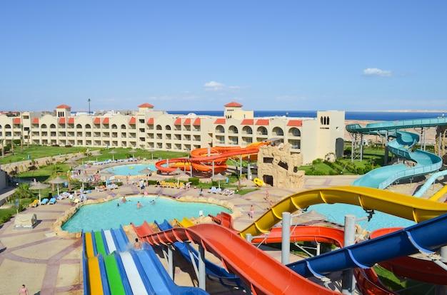 Sharm el sheikh, egipto. la vista del hotel de lujo tirana
