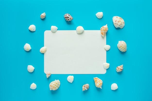 Shell en el fondo azul con espacio en blanco para texto