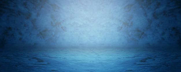 Showroom azul oscuro y estudio vacío para productos actuales.