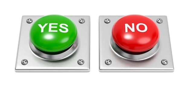Sí y no botones en blanco